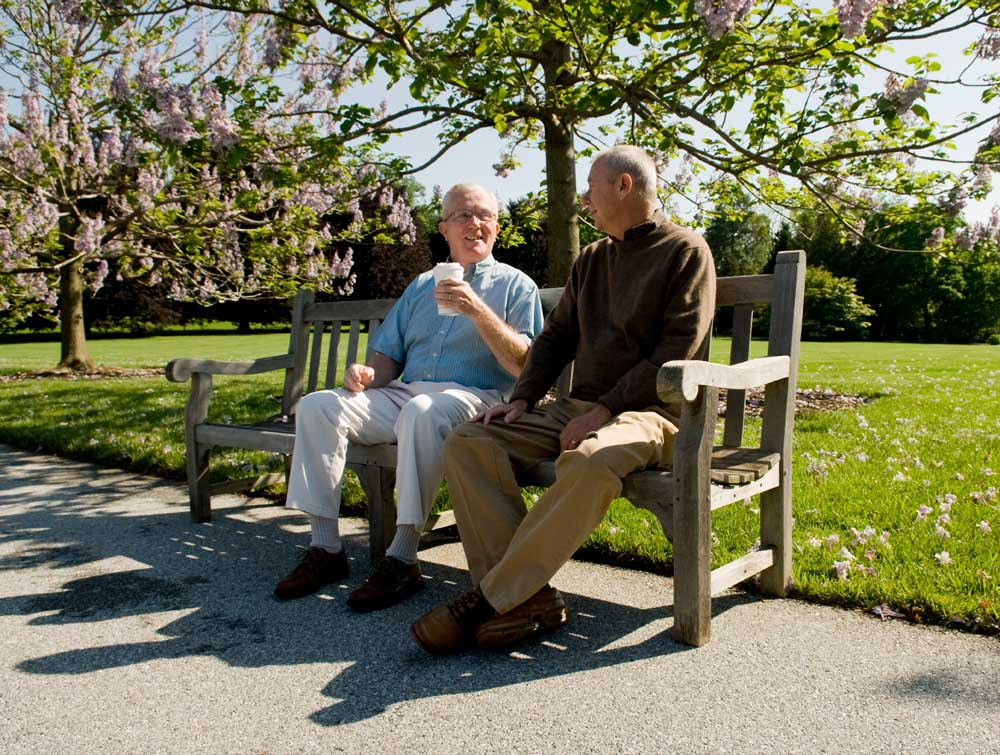 Two Men Sitting on a Bench in a Park